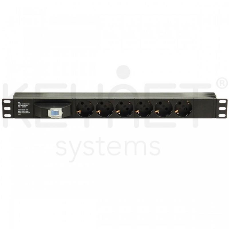 """Keynet FSK-196-DCB - Regleta 19"""" 1U con 6 schukos DIN y protección sobre tensiones."""