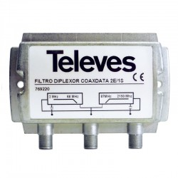 Televés 769220 - Filtro diplexor CoaxData con 2 entradas y 1 salida.
