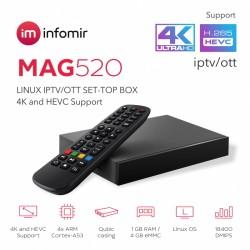 MAG 520 - Receptor / Decodificador IPTV OTT 4K - HEVC.
